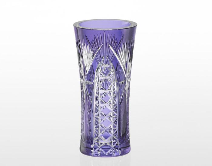 銀座ショップ限定 江戸切子 花瓶<笹っ葉に四角籠目紋>/紫