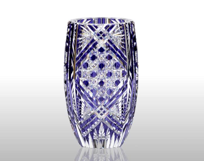 銀座ショップ限定 江戸切子 花瓶<笹っ葉に八角籠目紋>/紫