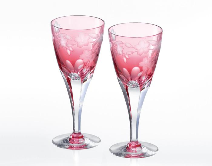 ペアワイングラス<桜>