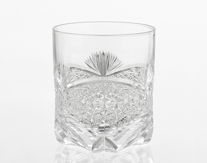 """Whiskey Glass, Edo Kiriko """"Bamboo Leaves & Chrysanthemum mesh"""""""