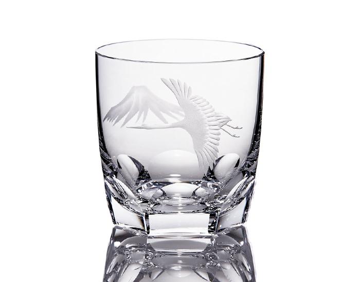 ロックグラス<鶴と富士山>