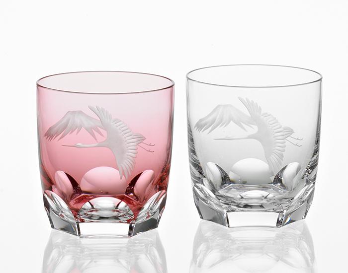 ペアロックグラス<鶴と富士山>